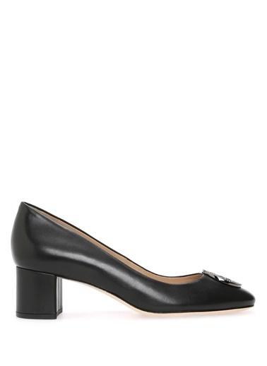 Tory Burch Kalın Topuklu %100 Deri Ayakkabı Siyah